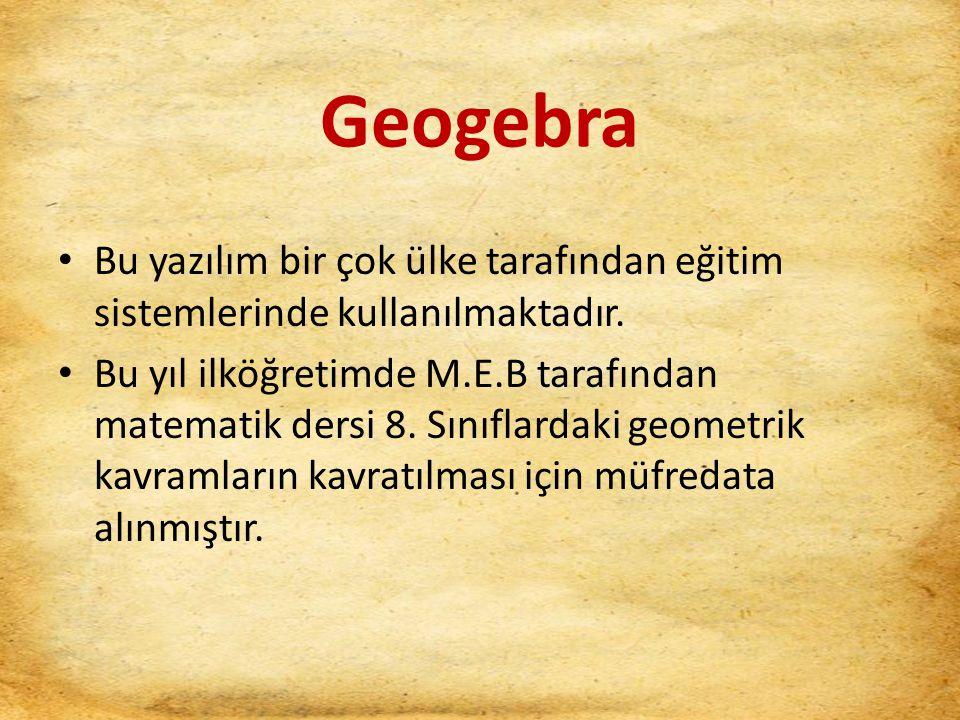 Geogebra Bu yazılım bir çok ülke tarafından eğitim sistemlerinde kullanılmaktadır. Bu yıl ilköğretimde M.E.B tarafından matematik dersi 8. Sınıflardak