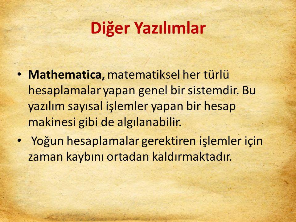 Diğer Yazılımlar Mathematica, matematiksel her türlü hesaplamalar yapan genel bir sistemdir. Bu yazılım sayısal işlemler yapan bir hesap makinesi gibi