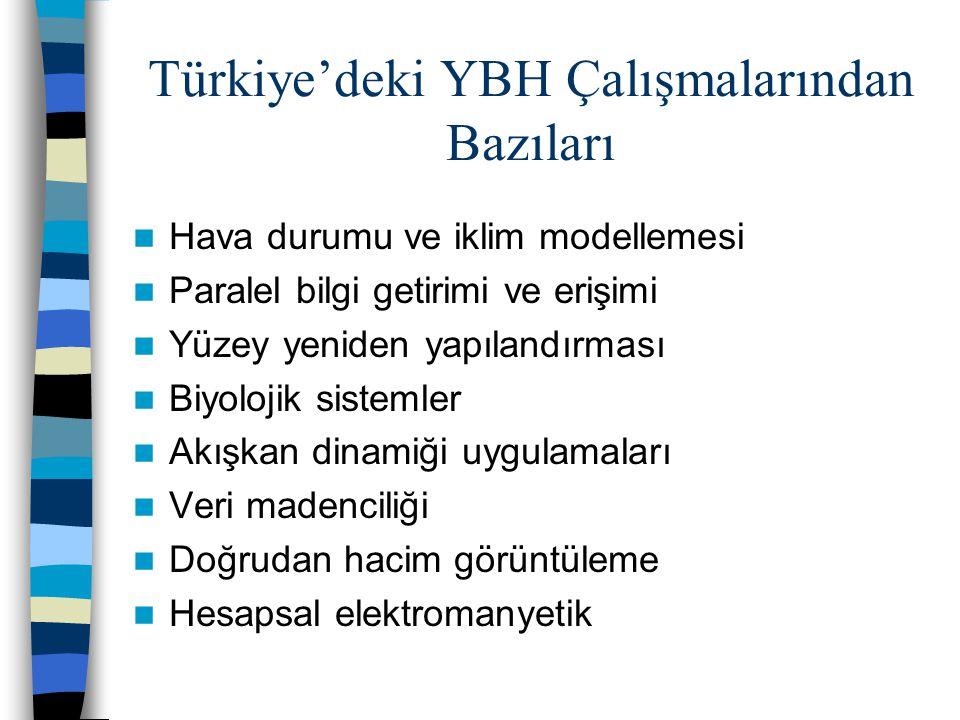 Türkiye'deki YBH Çalışmalarından Bazıları Hava durumu ve iklim modellemesi Paralel bilgi getirimi ve erişimi Yüzey yeniden yapılandırması Biyolojik sistemler Akışkan dinamiği uygulamaları Veri madenciliği Doğrudan hacim görüntüleme Hesapsal elektromanyetik
