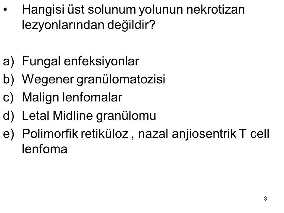 3 Hangisi üst solunum yolunun nekrotizan lezyonlarından değildir? a)Fungal enfeksiyonlar b)Wegener granülomatozisi c)Malign lenfomalar d)Letal Midline