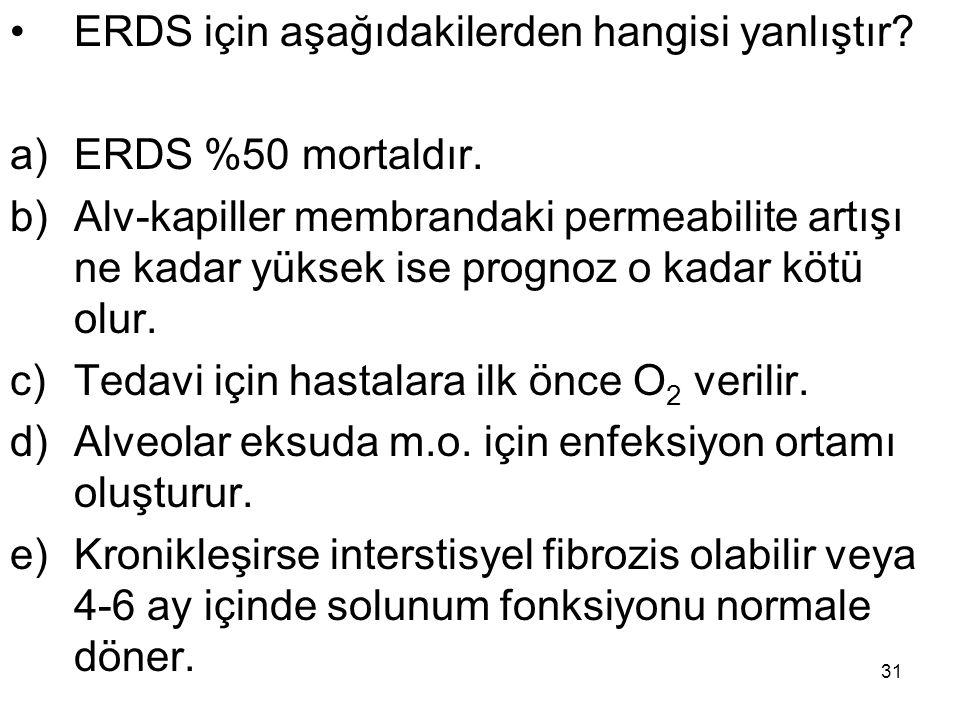 31 ERDS için aşağıdakilerden hangisi yanlıştır? a)ERDS %50 mortaldır. b)Alv-kapiller membrandaki permeabilite artışı ne kadar yüksek ise prognoz o kad