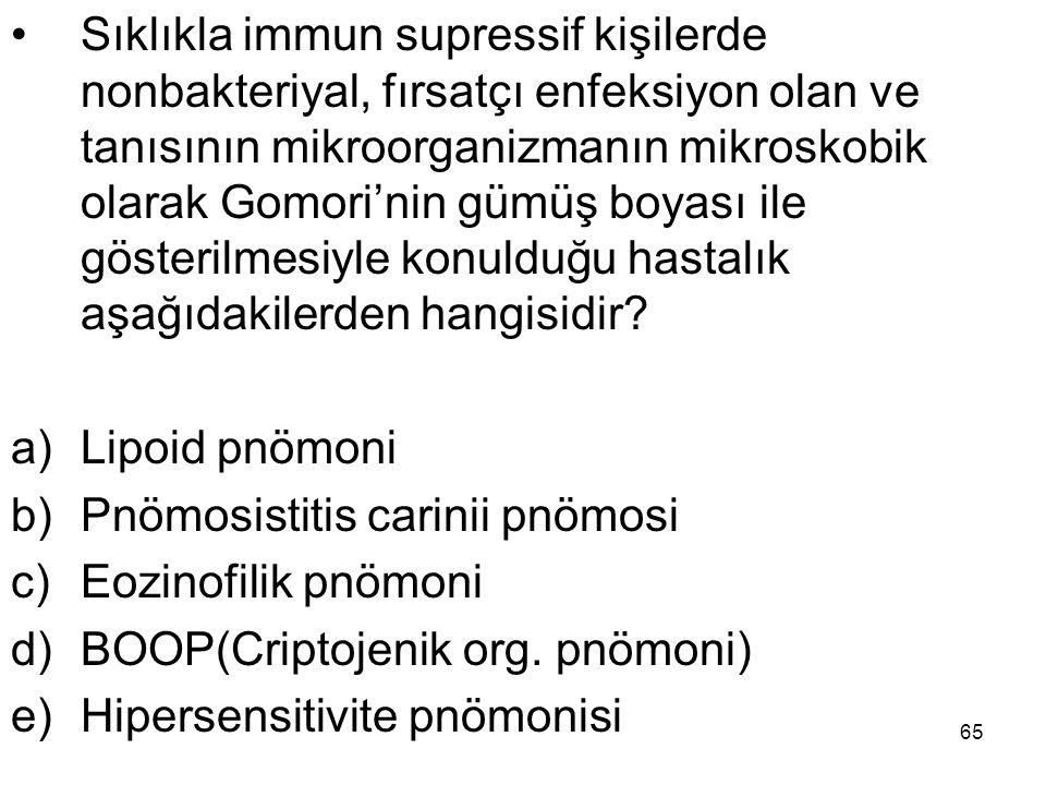 65 Sıklıkla immun supressif kişilerde nonbakteriyal, fırsatçı enfeksiyon olan ve tanısının mikroorganizmanın mikroskobik olarak Gomori'nin gümüş boyas