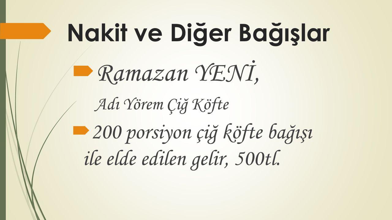 Nakit ve Diğer Bağışlar  Ramazan YENİ, Adı Yörem Çiğ Köfte  200 porsiyon çiğ köfte bağışı ile elde edilen gelir, 500tl.