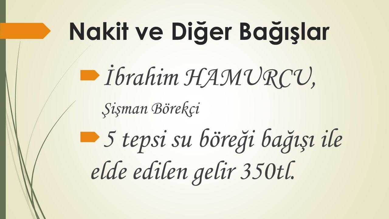  İbrahim HAMURCU, Şişman Börekçi  5 tepsi su böreği bağışı ile elde edilen gelir 350tl. Nakit ve Diğer Bağışlar