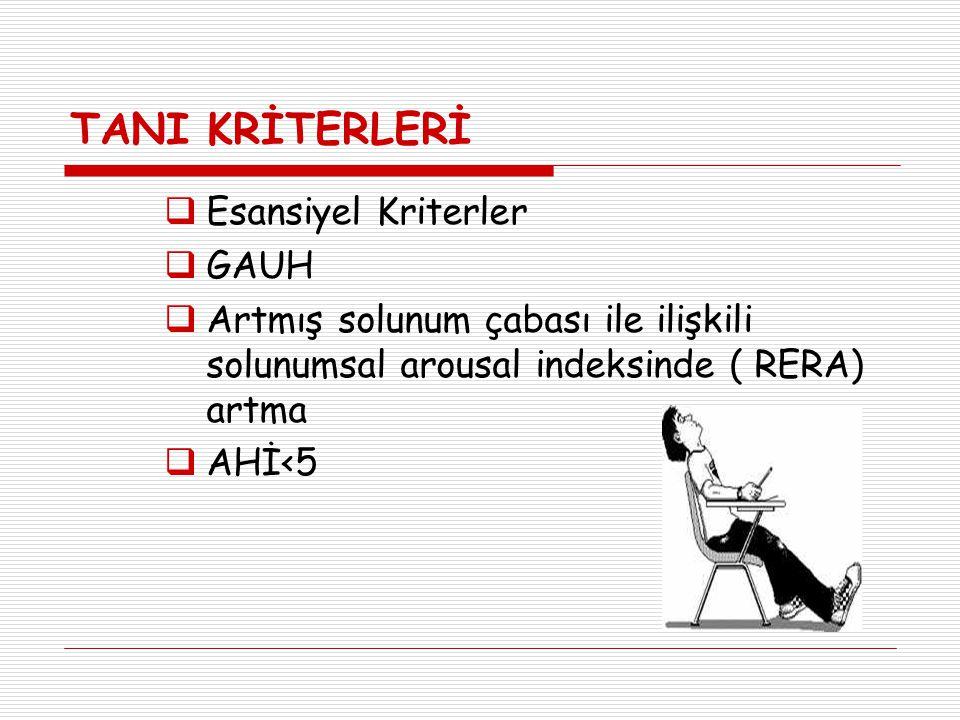 TANI KRİTERLERİ  Esansiyel Kriterler  GAUH  Artmış solunum çabası ile ilişkili solunumsal arousal indeksinde ( RERA) artma  AHİ<5