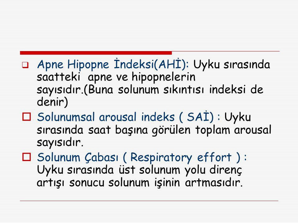  Apne Hipopne İndeksi(AHİ): Uyku sırasında saatteki apne ve hipopnelerin sayısıdır.(Buna solunum sıkıntısı indeksi de denir)  Solunumsal arousal ind