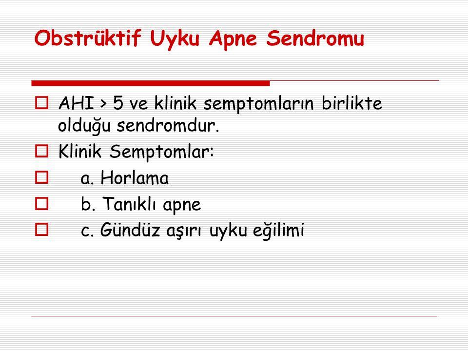 Obstrüktif Uyku Apne Sendromu  AHI > 5 ve klinik semptomların birlikte olduğu sendromdur.  Klinik Semptomlar:  a. Horlama  b. Tanıklı apne  c. Gü