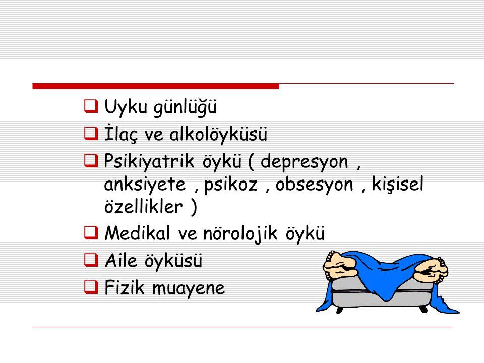  Uyku günlüğü  İlaç ve alkolöyküsü  Psikiyatrik öykü ( depresyon, anksiyete, psikoz, obsesyon, kişisel özellikler )  Medikal ve nörolojik öykü  A