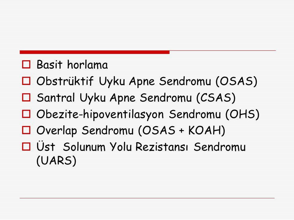  Basit horlama  Obstrüktif Uyku Apne Sendromu (OSAS)  Santral Uyku Apne Sendromu (CSAS)  Obezite-hipoventilasyon Sendromu (OHS)  Overlap Sendromu