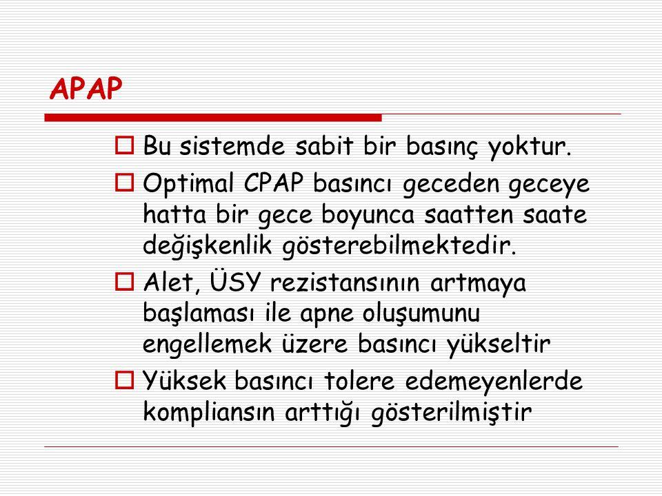 APAP  Bu sistemde sabit bir basınç yoktur.  Optimal CPAP basıncı geceden geceye hatta bir gece boyunca saatten saate değişkenlik gösterebilmektedir.