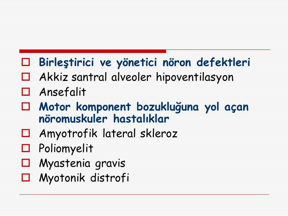  Birleştirici ve yönetici nöron defektleri  Akkiz santral alveoler hipoventilasyon  Ansefalit  Motor komponent bozukluğuna yol açan nöromuskuler h