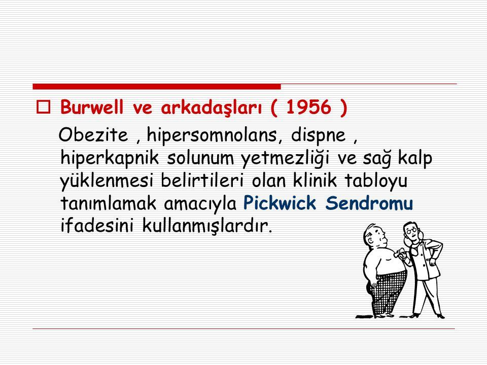  Burwell ve arkadaşları ( 1956 ) Obezite, hipersomnolans, dispne, hiperkapnik solunum yetmezliği ve sağ kalp yüklenmesi belirtileri olan klinik tablo