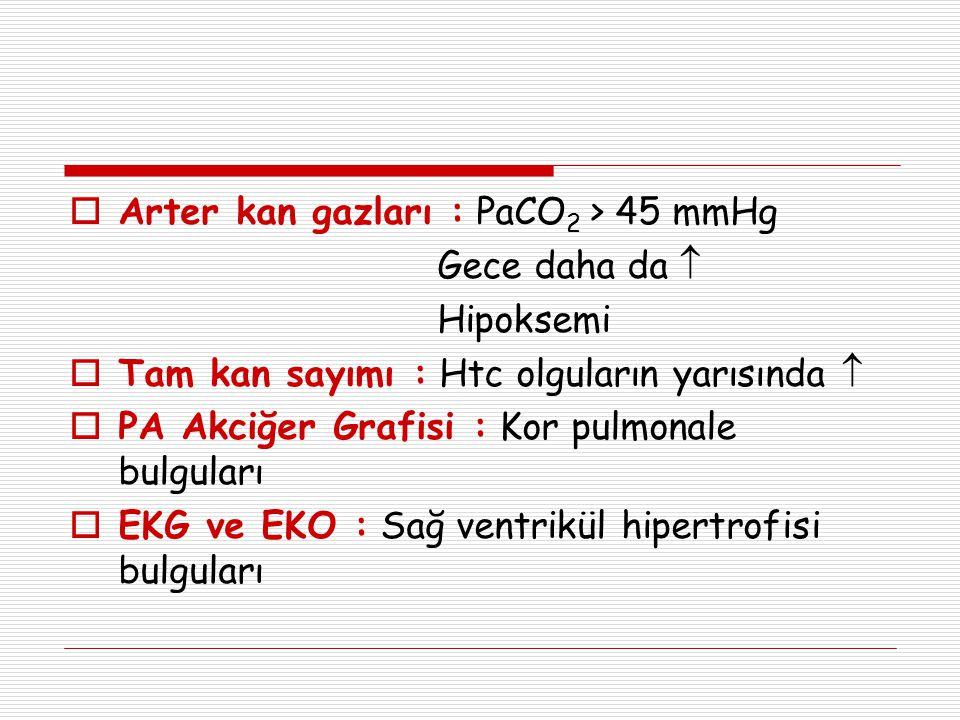  Arter kan gazları : PaCO 2 > 45 mmHg Gece daha da  Hipoksemi  Tam kan sayımı : Htc olguların yarısında   PA Akciğer Grafisi : Kor pulmonale bulg