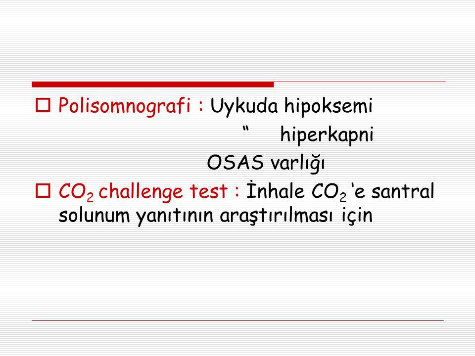 """ Polisomnografi : Uykuda hipoksemi """" hiperkapni OSAS varlığı  CO 2 challenge test : İnhale CO 2 'e santral solunum yanıtının araştırılması için"""