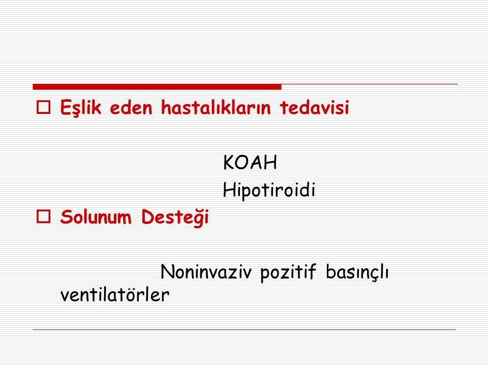  Eşlik eden hastalıkların tedavisi KOAH Hipotiroidi  Solunum Desteği Noninvaziv pozitif basınçlı ventilatörler