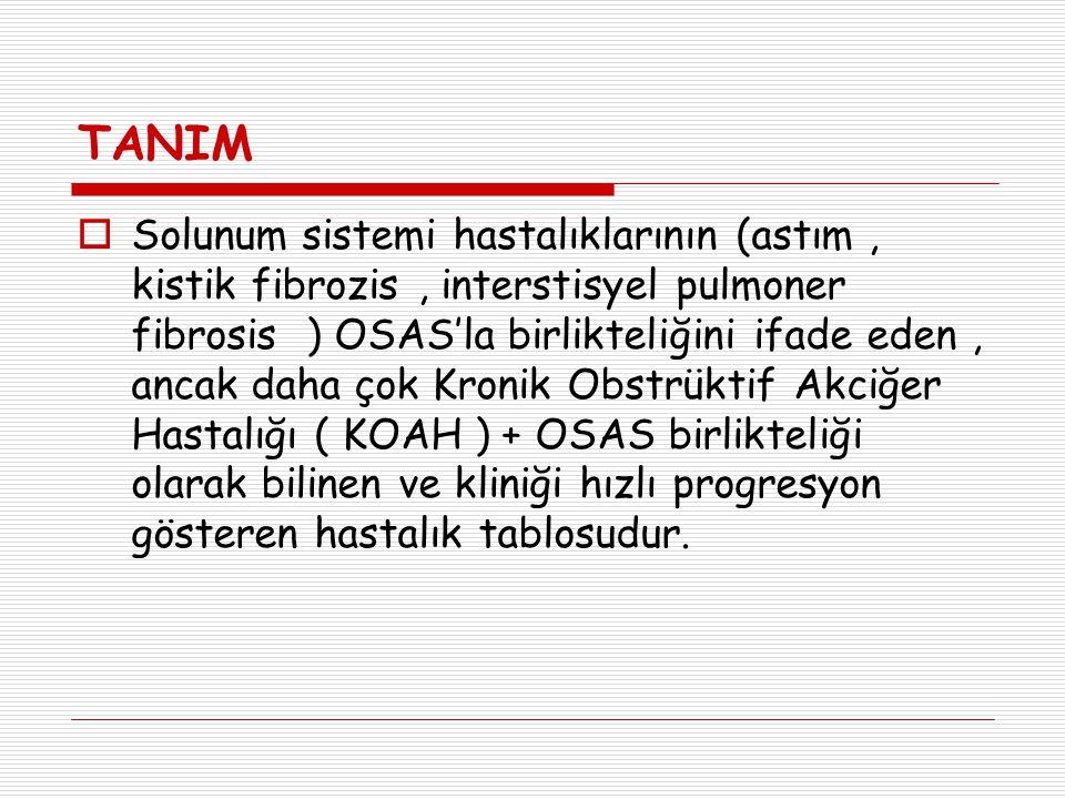 TANIM  Solunum sistemi hastalıklarının (astım, kistik fibrozis, interstisyel pulmoner fibrosis ) OSAS'la birlikteliğini ifade eden, ancak daha çok Kr