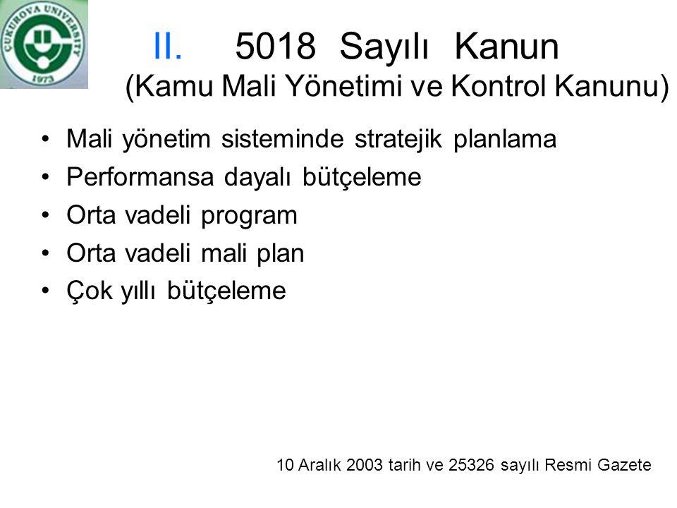 II.5018 Sayılı Kanun (Kamu Mali Yönetimi ve Kontrol Kanunu) Mali yönetim sisteminde stratejik planlama Performansa dayalı bütçeleme Orta vadeli progra