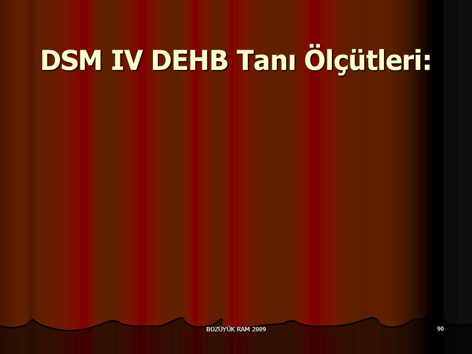 BOZÜYÜK RAM 2009 90 DSM IV DEHB Tanı Ölçütleri:
