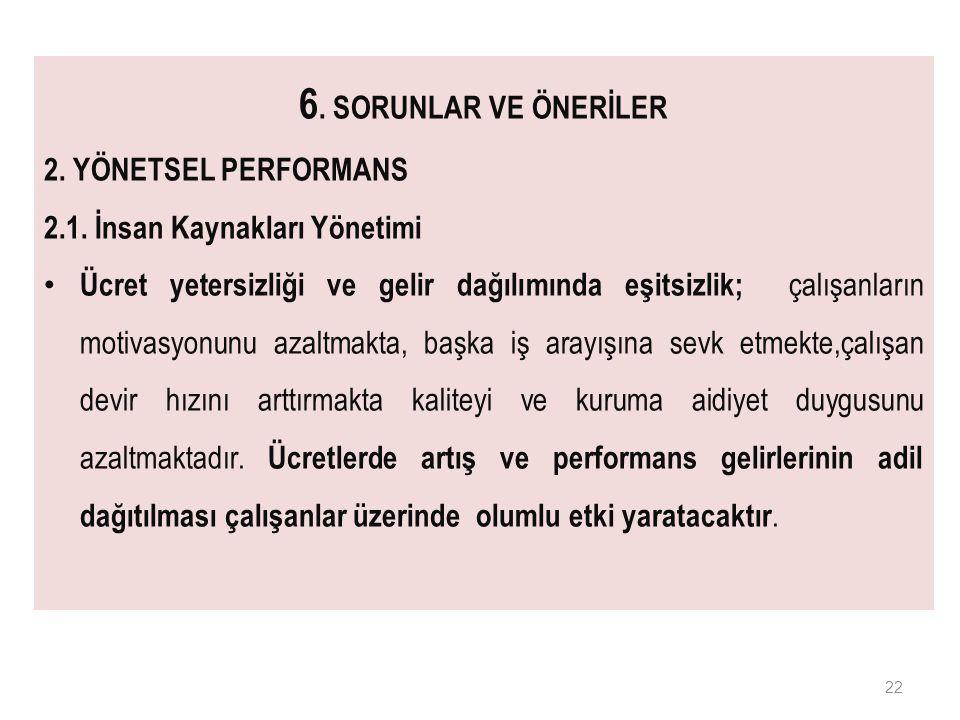6. SORUNLAR VE ÖNERİLER 2. YÖNETSEL PERFORMANS 2.1.