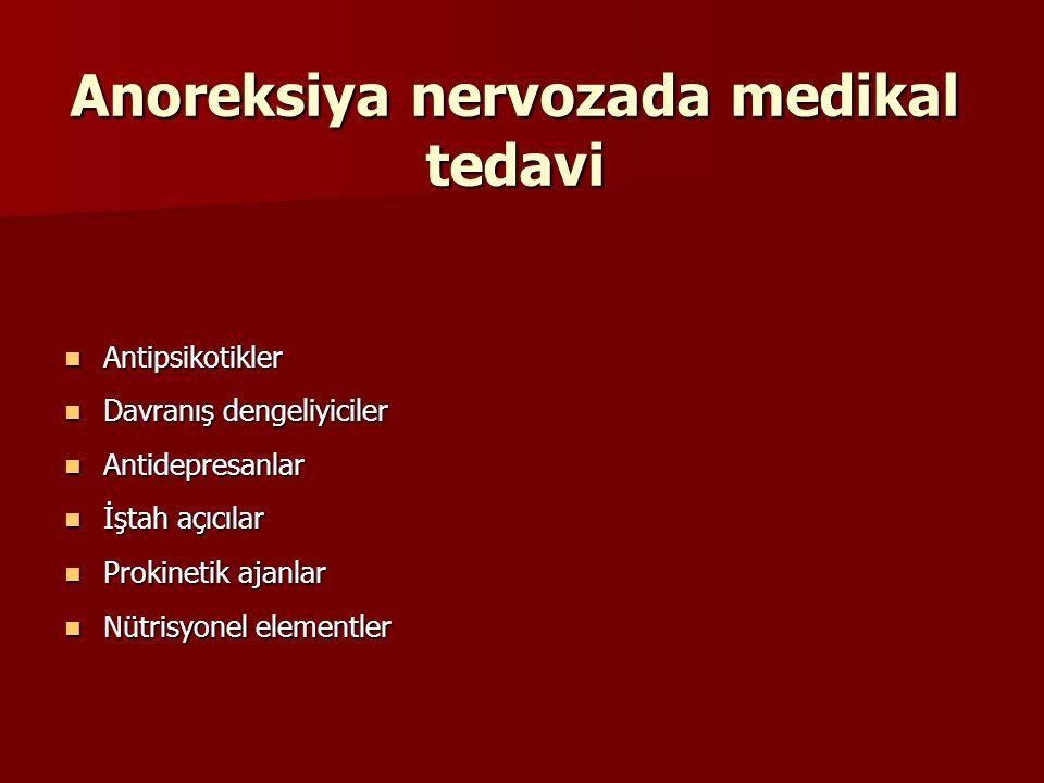 Anoreksiya nervozada medikal tedavi Antipsikotikler Antipsikotikler Davranış dengeliyiciler Davranış dengeliyiciler Antidepresanlar Antidepresanlar İş