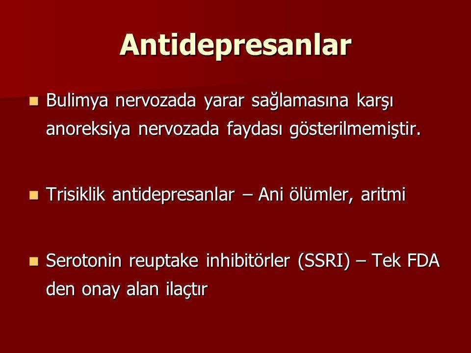 Antidepresanlar Bulimya nervozada yarar sağlamasına karşı anoreksiya nervozada faydası gösterilmemiştir. Bulimya nervozada yarar sağlamasına karşı ano