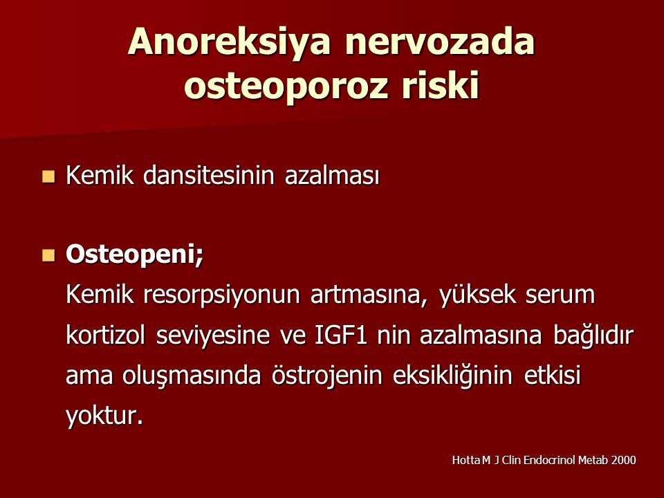 Anoreksiya nervozada osteoporoz riski Kemik dansitesinin azalması Kemik dansitesinin azalması Osteopeni; Kemik resorpsiyonun artmasına, yüksek serum k