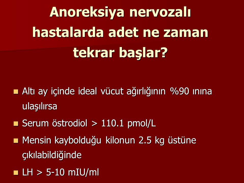 Anoreksiya nervozalı hastalarda adet ne zaman tekrar başlar? Altı ay içinde ideal vücut ağırlığının %90 ınına ulaşılırsa Altı ay içinde ideal vücut ağ