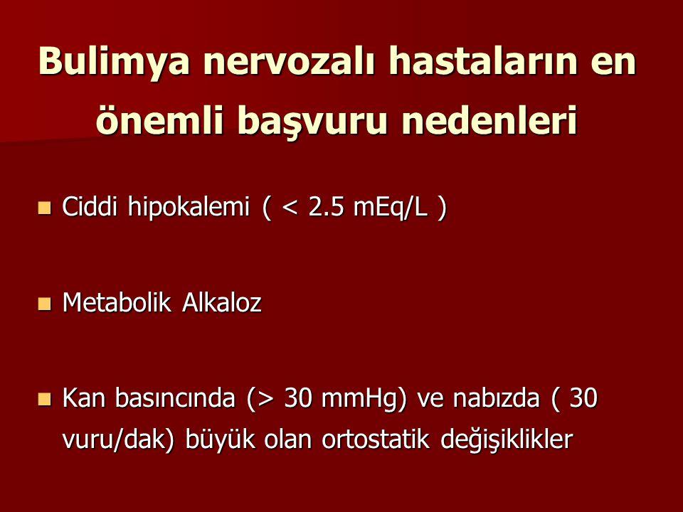 Bulimya nervozalı hastaların en önemli başvuru nedenleri Ciddi hipokalemi ( < 2.5 mEq/L ) Ciddi hipokalemi ( < 2.5 mEq/L ) Metabolik Alkaloz Metabolik