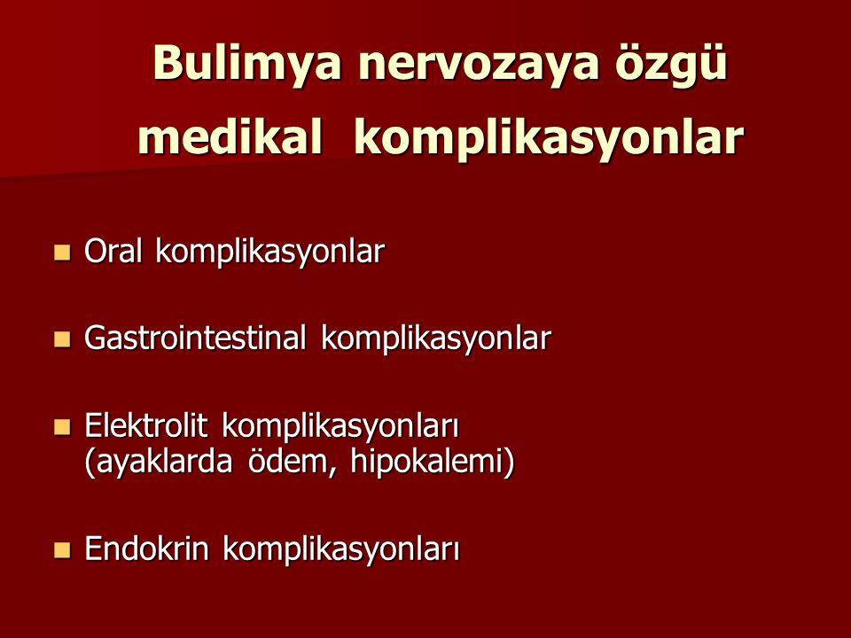 Bulimya nervozaya özgü medikal komplikasyonlar Oral komplikasyonlar Oral komplikasyonlar Gastrointestinal komplikasyonlar Gastrointestinal komplikasyo