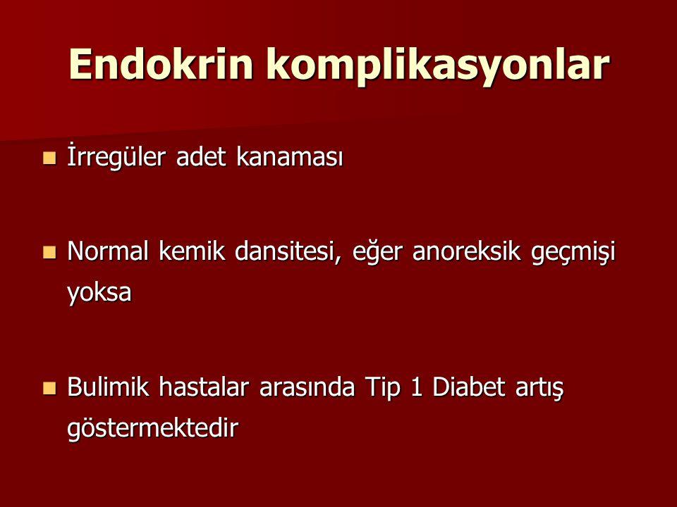 Endokrin komplikasyonlar İrregüler adet kanaması İrregüler adet kanaması Normal kemik dansitesi, eğer anoreksik geçmişi yoksa Normal kemik dansitesi,