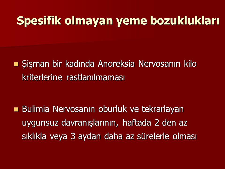 Spesifik olmayan yeme bozuklukları Şişman bir kadında Anoreksia Nervosanın kilo kriterlerine rastlanılmaması Şişman bir kadında Anoreksia Nervosanın k
