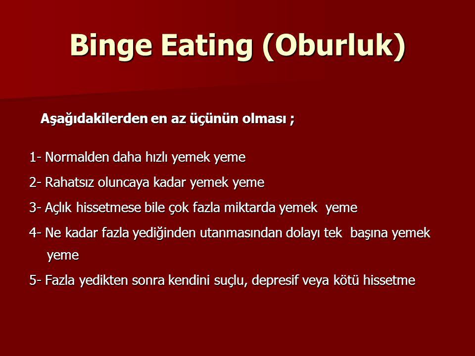 Binge Eating (Oburluk) Aşağıdakilerden en az üçünün olması ; Aşağıdakilerden en az üçünün olması ; 1- Normalden daha hızlı yemek yeme 2- Rahatsız olun