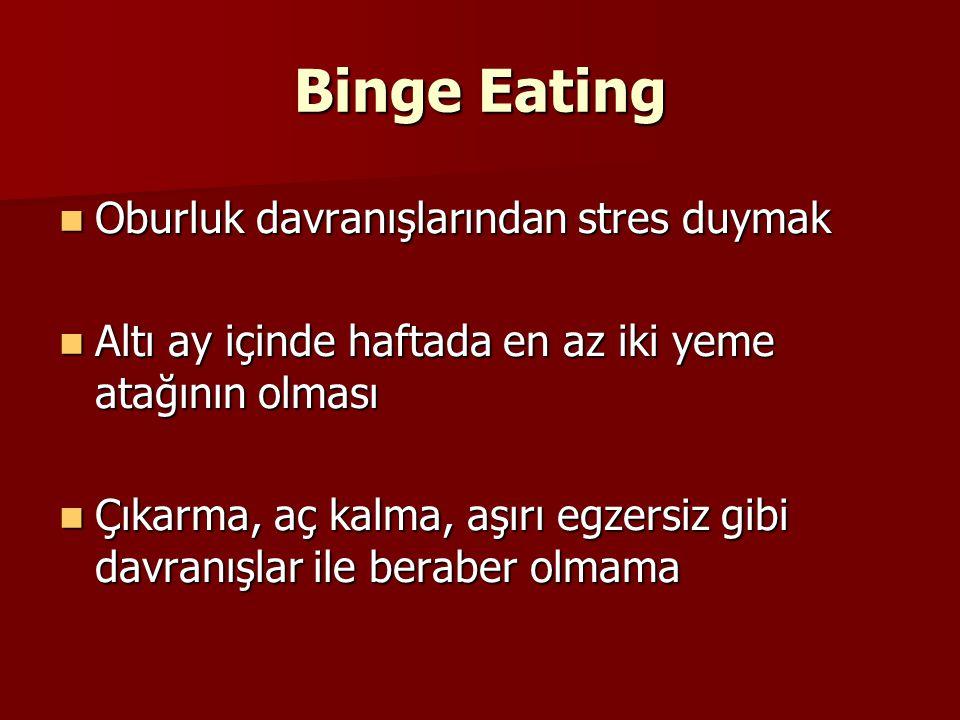 Binge Eating Oburluk davranışlarından stres duymak Oburluk davranışlarından stres duymak Altı ay içinde haftada en az iki yeme atağının olması Altı ay