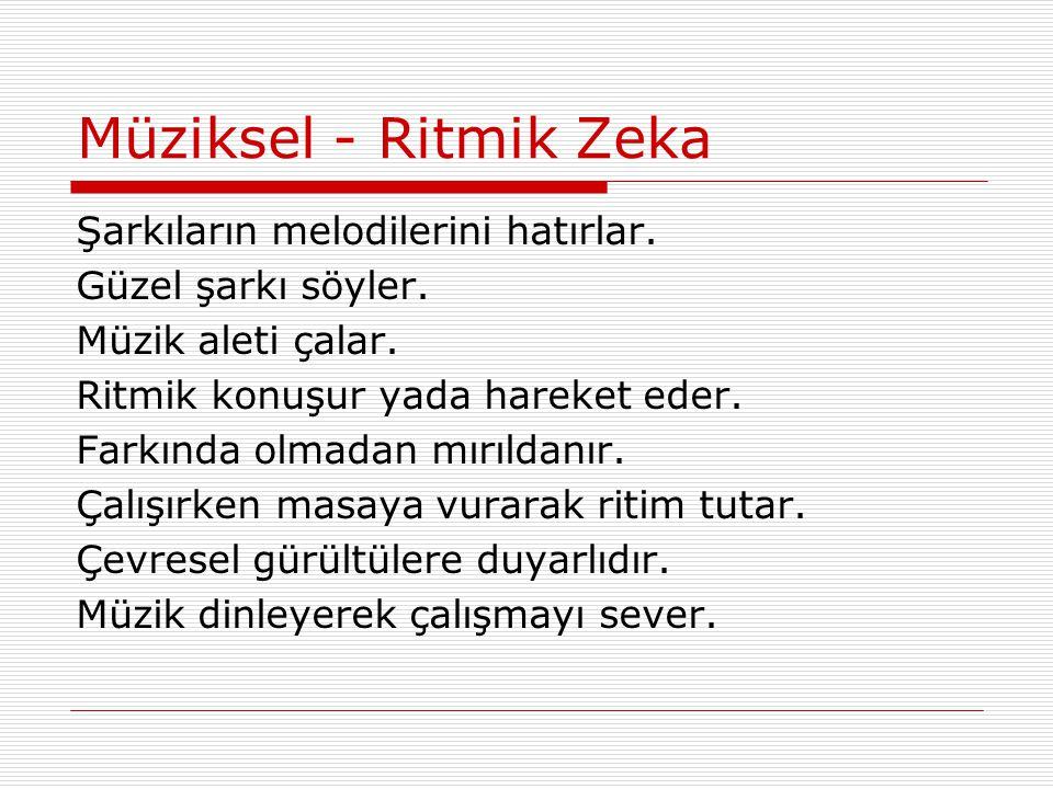 Müziksel - Ritmik Zeka Şarkıların melodilerini hatırlar. Güzel şarkı söyler. Müzik aleti çalar. Ritmik konuşur yada hareket eder. Farkında olmadan mır