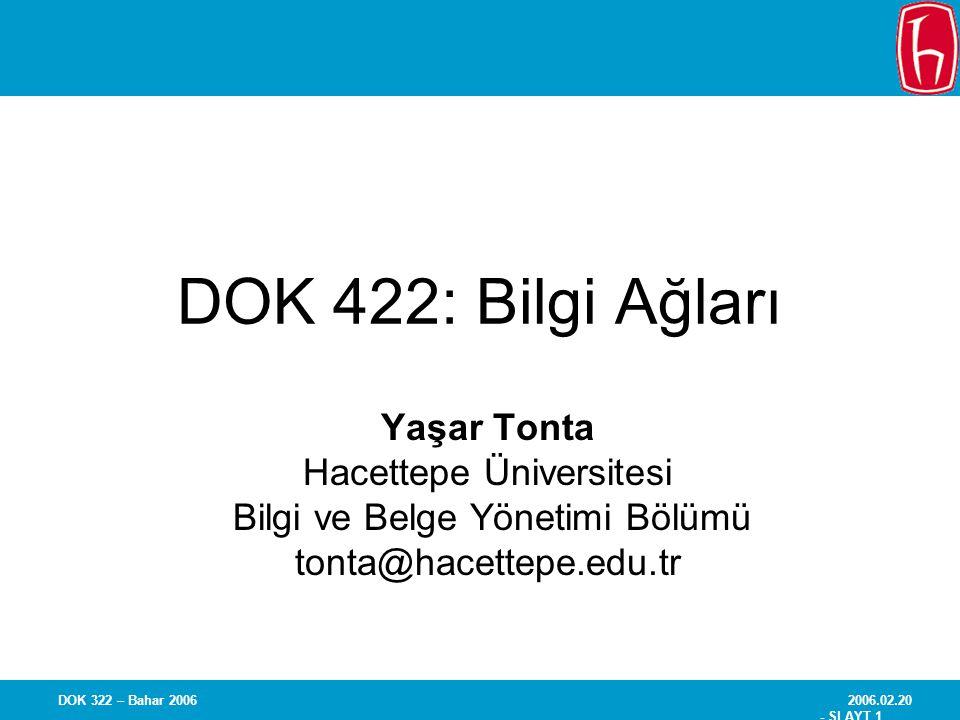2006.02.20 - SLAYT 1 DOK 322 – Bahar 2006 DOK 422: Bilgi Ağları Yaşar Tonta Hacettepe Üniversitesi Bilgi ve Belge Yönetimi Bölümü tonta@hacettepe.edu.tr