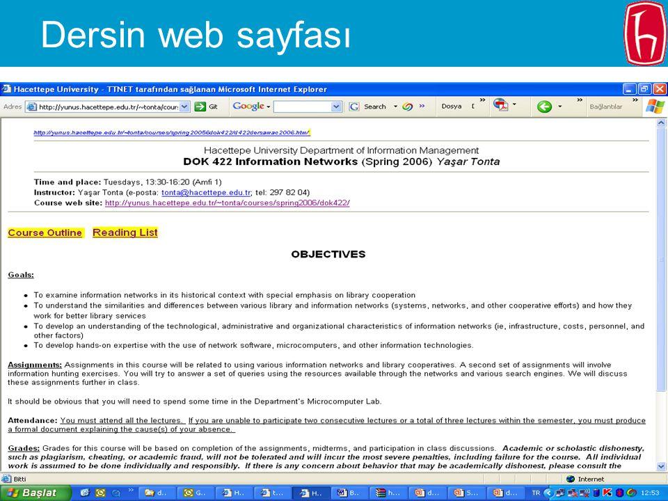 2006.02.20 - SLAYT 5 DOK 322 – Bahar 2006 Dersin web sayfası