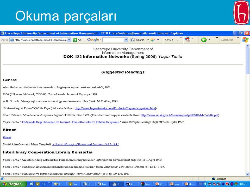 2006.02.20 - SLAYT 8 DOK 322 – Bahar 2006 Notlandırma Geçme notu: –Devam (%10) –Ödevler (%20) –Ara sınavlar (%40) –Son sınav (%40)