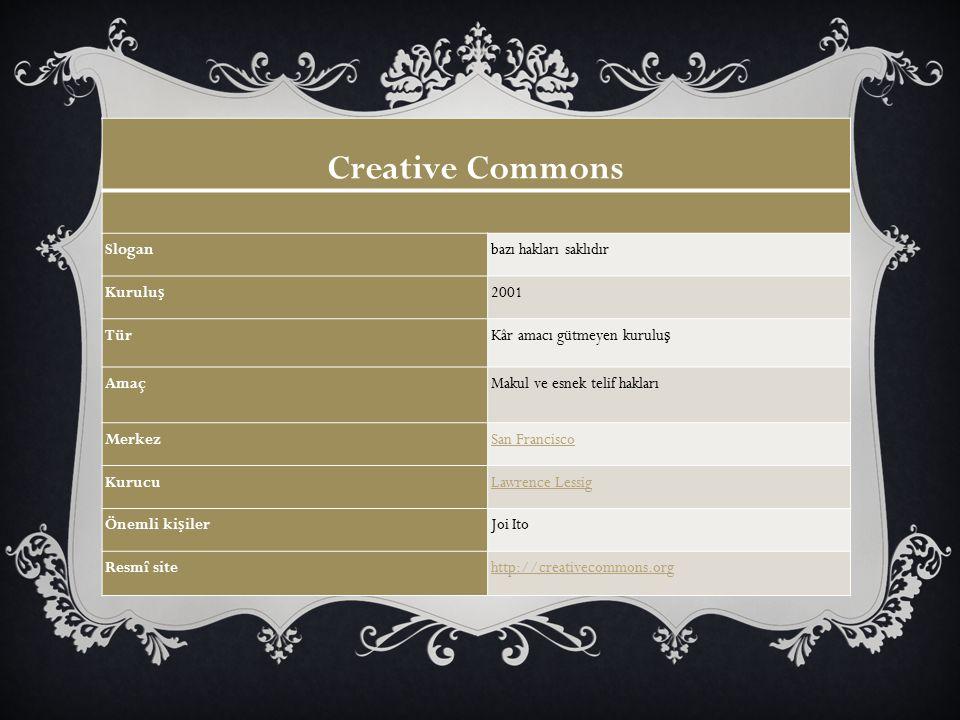 Creative Commons Sloganbazı hakları saklıdır Kurulu ş 2001 TürKâr amacı gütmeyen kurulu ş AmaçMakul ve esnek telif hakları MerkezSan Francisco KurucuL