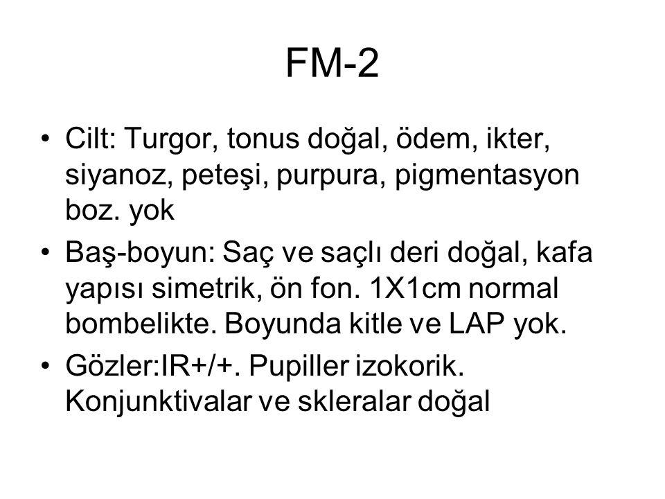 FM-2 Cilt: Turgor, tonus doğal, ödem, ikter, siyanoz, peteşi, purpura, pigmentasyon boz. yok Baş-boyun: Saç ve saçlı deri doğal, kafa yapısı simetrik,