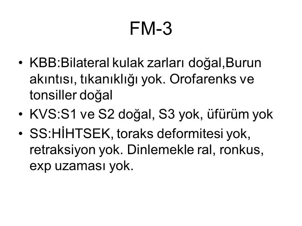 FM-3 KBB:Bilateral kulak zarları doğal,Burun akıntısı, tıkanıklığı yok. Orofarenks ve tonsiller doğal KVS:S1 ve S2 doğal, S3 yok, üfürüm yok SS:HİHTSE