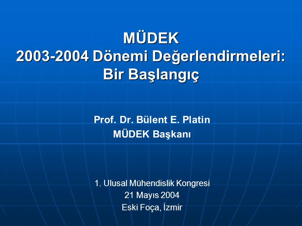 MÜDEK 2003-2004 Dönemi Değerlendirmeleri: Bir Başlangıç Prof. Dr. Bülent E. Platin MÜDEK Başkanı 1. Ulusal Mühendislik Kongresi 21 Mayıs 2004 Eski Foç