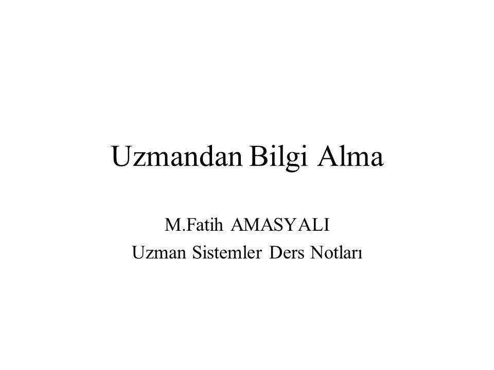 Uzmandan Bilgi Alma M.Fatih AMASYALI Uzman Sistemler Ders Notları