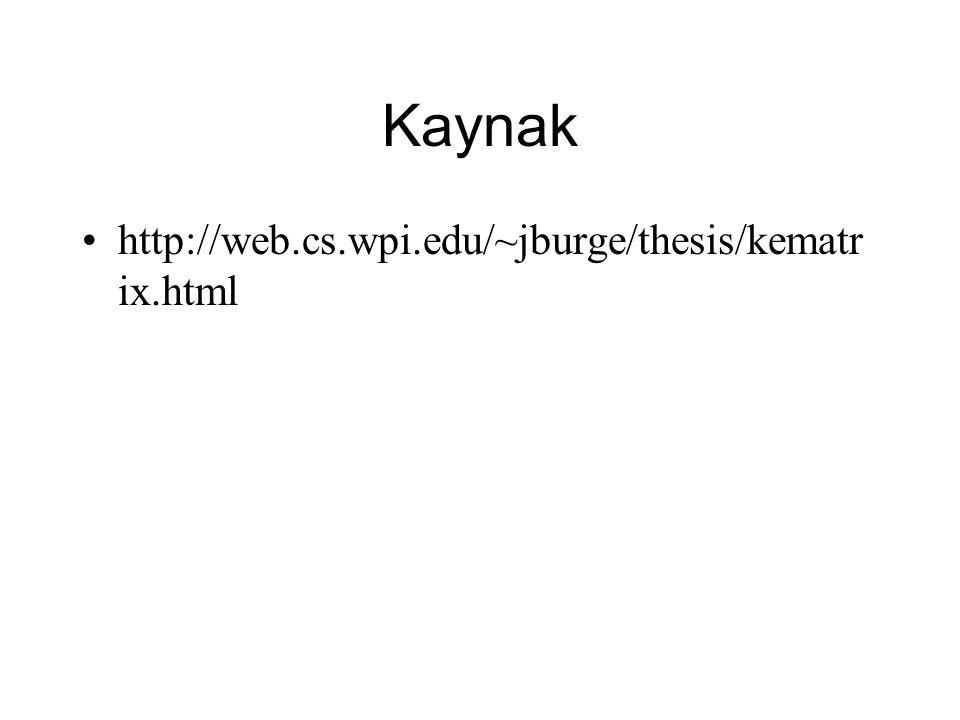 Kaynak http://web.cs.wpi.edu/~jburge/thesis/kematr ix.html