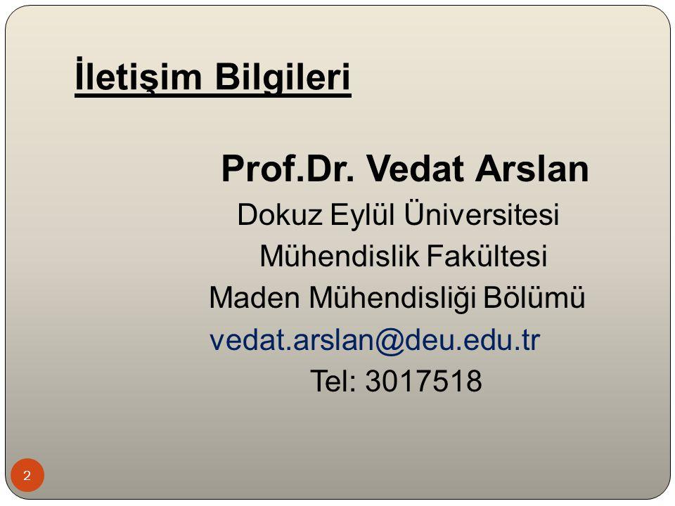 2 Prof.Dr. Vedat Arslan Dokuz Eylül Üniversitesi Mühendislik Fakültesi Maden Mühendisliği Bölümü vedat.arslan@deu.edu.tr Tel: 3017518 İletişim Bilgile