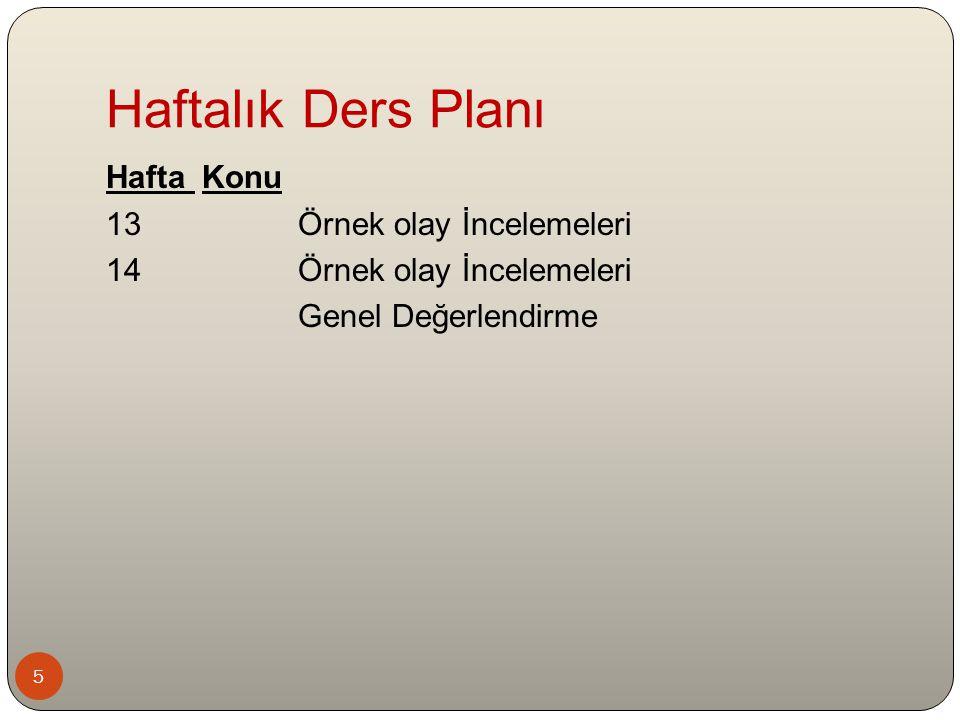 5 Hafta Konu 13Örnek olay İncelemeleri 14Örnek olay İncelemeleri Genel Değerlendirme Haftalık Ders Planı
