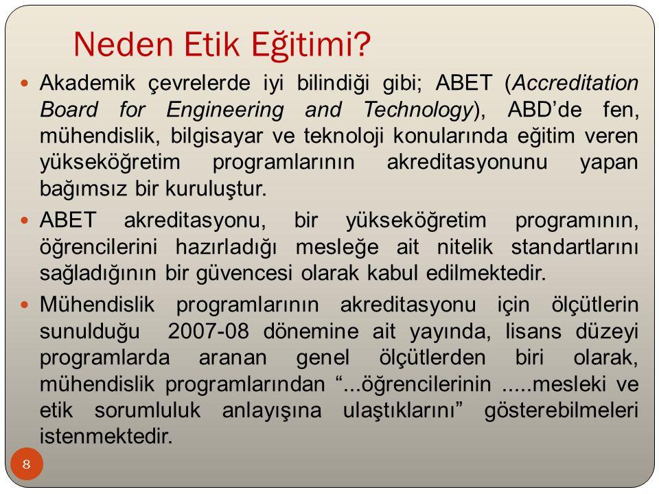 Neden Etik Eğitimi? Akademik çevrelerde iyi bilindiği gibi; ABET (Accreditation Board for Engineering and Technology), ABD'de fen, mühendislik, bilgis