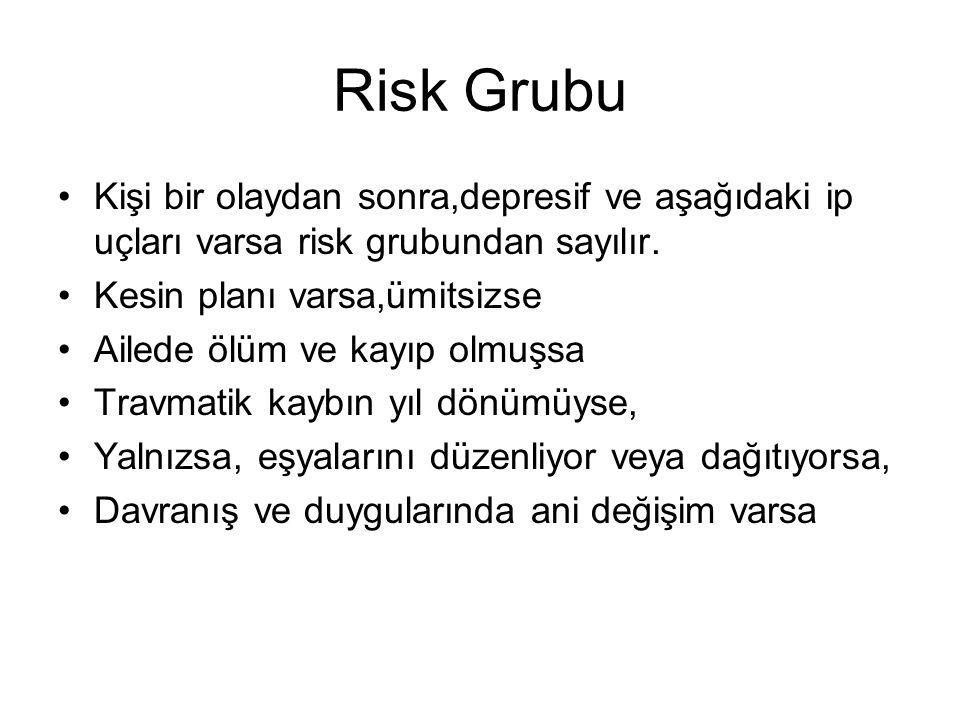 Risk Grubu Kişi bir olaydan sonra,depresif ve aşağıdaki ip uçları varsa risk grubundan sayılır. Kesin planı varsa,ümitsizse Ailede ölüm ve kayıp olmuş