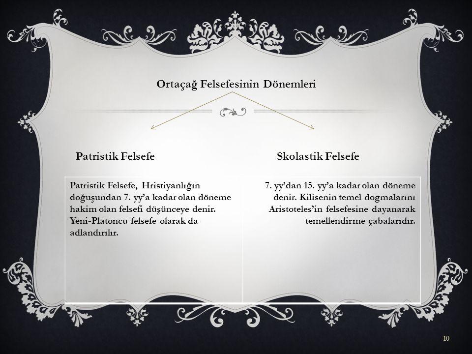 Ortaçağ Felsefesinin Dönemleri Patristik Felsefe Skolastik Felsefe 10 Patristik Felsefe, Hristiyanlığın doğuşundan 7.