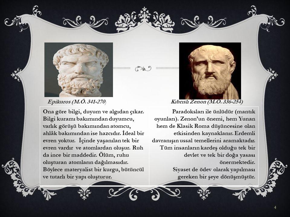 4 Epikuros (M.Ö.341-270)Kıbrıslı Zenon (M.Ö. 336-254) Ona göre bilgi, duyum ve algıdan çıkar.