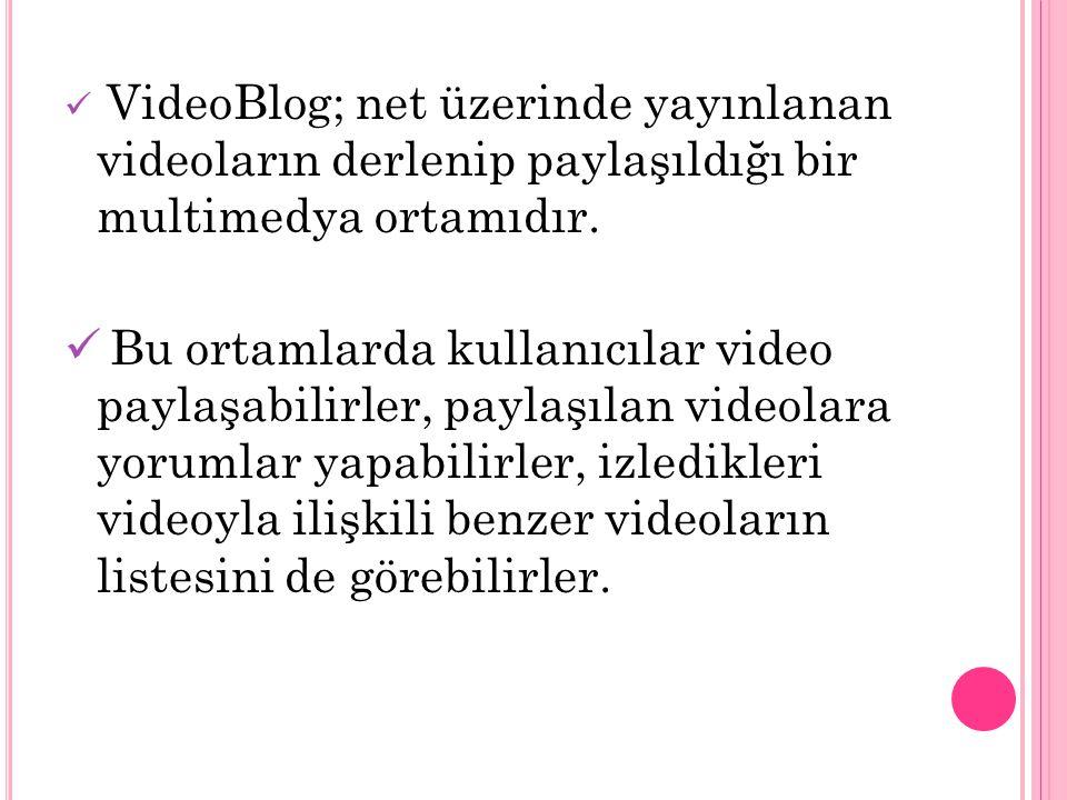 VideoBlog; net üzerinde yayınlanan videoların derlenip paylaşıldığı bir multimedya ortamıdır. Bu ortamlarda kullanıcılar video paylaşabilirler, paylaş